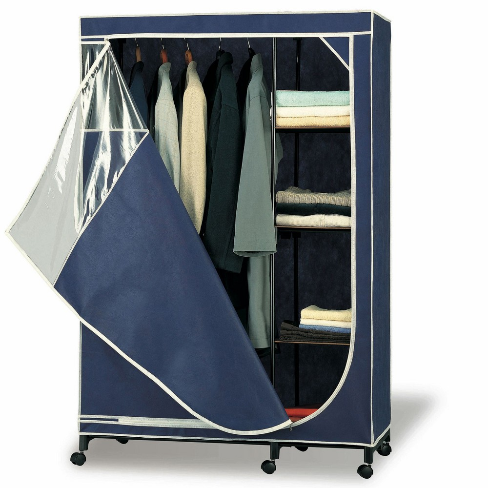 Neu Home Deluxe Wardrobe with Shelf & Casters Navy (Blue)