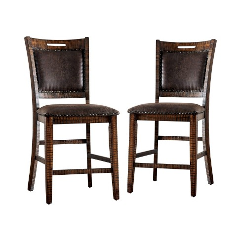 Set Of 2 Soho Upholstered Counter Height Dining Chairs Light Walnut Sun Pine