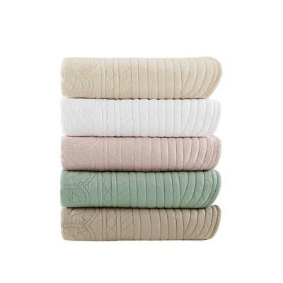 Marino Oversized Quilted Throw Blanket Blush