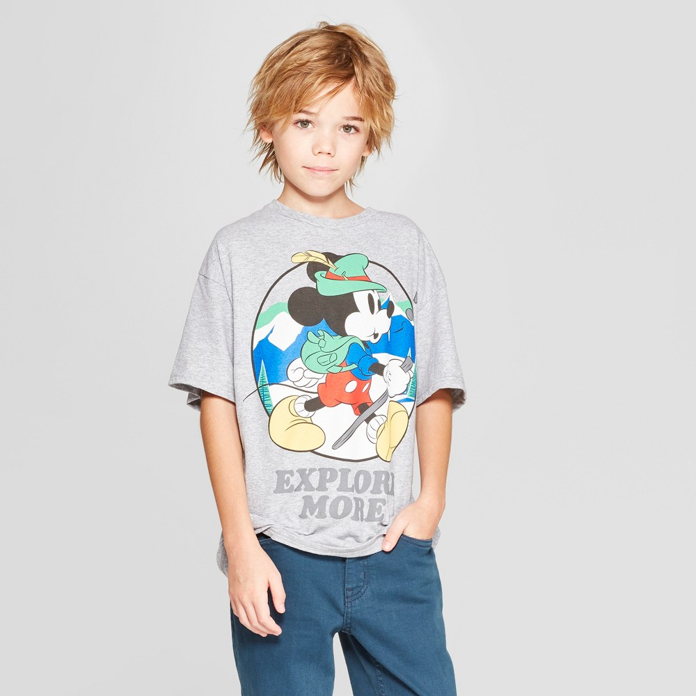 Boys' Disney Mickey Mouse 'Explore More' Short Sleeve Graphic T-Shirt - Gray XS
