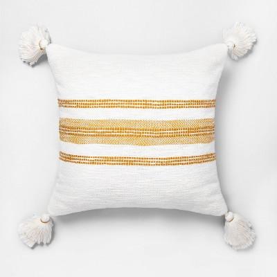 Slub Stripe Copper Throw Pillow Yellow / Sour Cream - Hearth & Hand™ with Magnolia