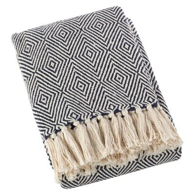 Navy Blue Sevan Soft Cotton Diamond Weave Throw Blankets (50 x60 )- Saro Lifestyle®