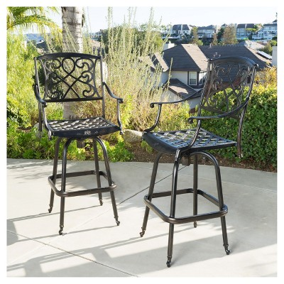Santa Maria Set Of 2 Cast Aluminum Patio Bar Stools   Shiny Copper    Christopher Knight Home : Target