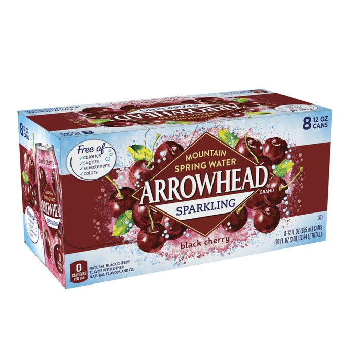 Arrowhead Black Cherry Flavored Sparkling Water - 8pk/12 fl oz Cans - image 1 of 10
