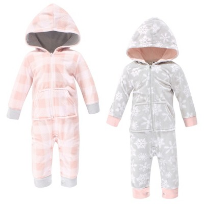 Hudson Baby Infant Girl Fleece Jumpsuits, Coveralls, and Playsuits 2pk, Gray Pink Snowflake