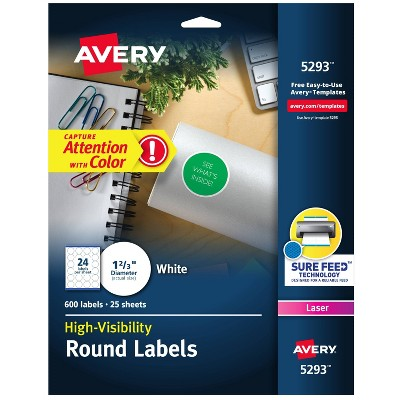 Avery 1-2/3in dia High-Visibility Round Laser Labels- White (600 per Pack)