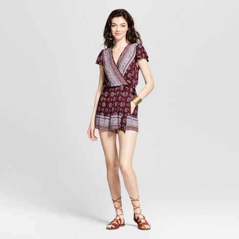 0a402519da07 Women s Short Sleeve V-Neck Romper - Xhilaration™ (Juniors )   Target