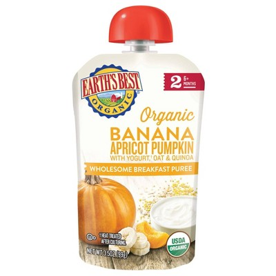 Earth's Best Organic Banana Apricot Pumpkin with Yogurt Oat & Quinoa Baby Food Pouch - 3.5oz