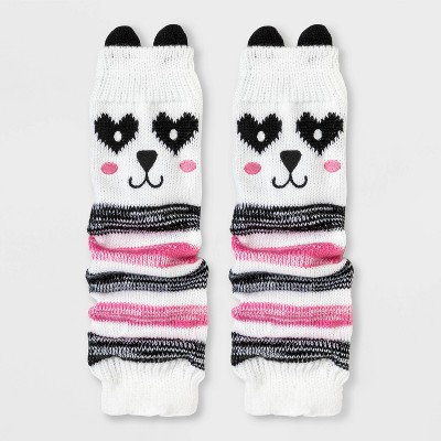 Girls' Panda Legwarmers - Cat & Jack™ White One Size