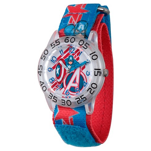 Boys' Marvel's Avengers Assemble Captain America Clear Plastic Time Teacher Watch - Multi - image 1 of 2
