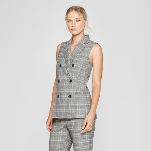 Women S Plaid Sleeveless Suit Vest Who What Wear Target