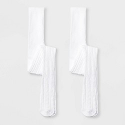 Girls' 2pk Cotton Cable Tights - Cat & Jack™ White