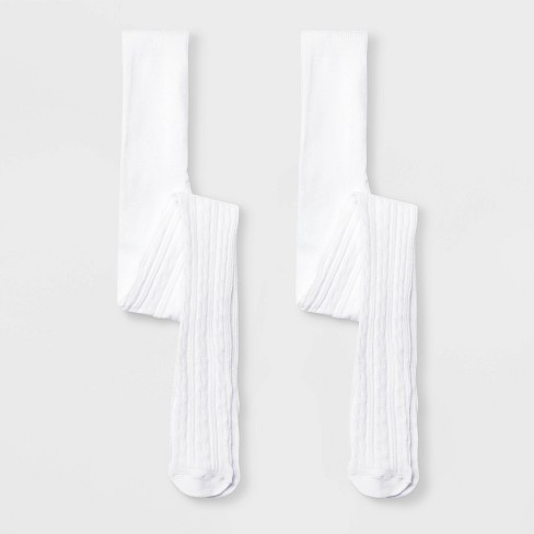 Girls' 2pk Cotton Cable Tights - Cat & Jack™ White - image 1 of 1