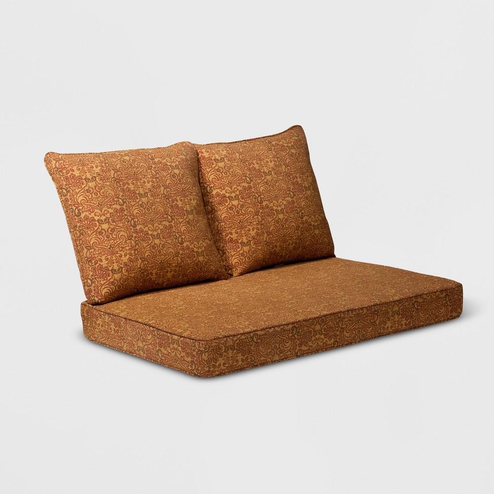 Madaga 3pc Outdoor Loveseat Replacement Cushion Set Gold Floral - Grand Basket