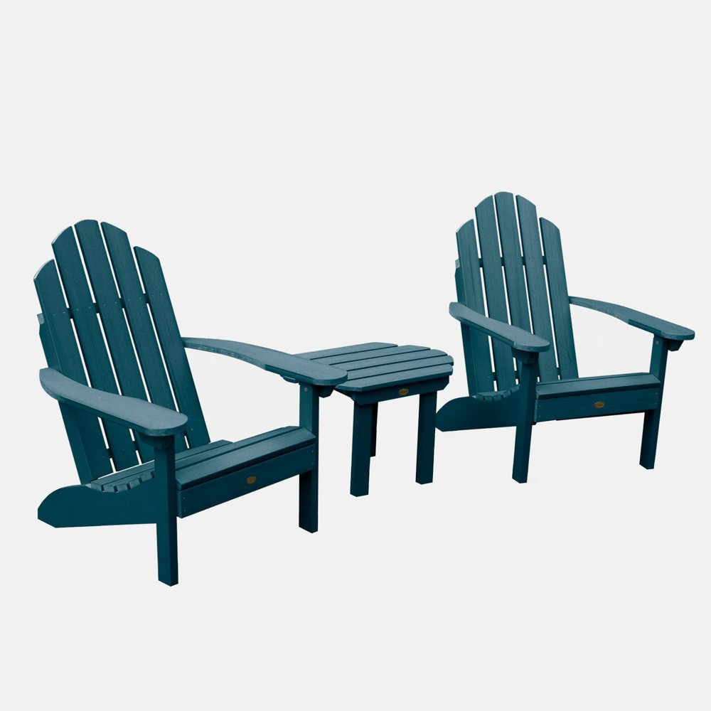 Image of 3pc Classic Westport Adirondack Chair Patio Set Nantucket Blue - highwood