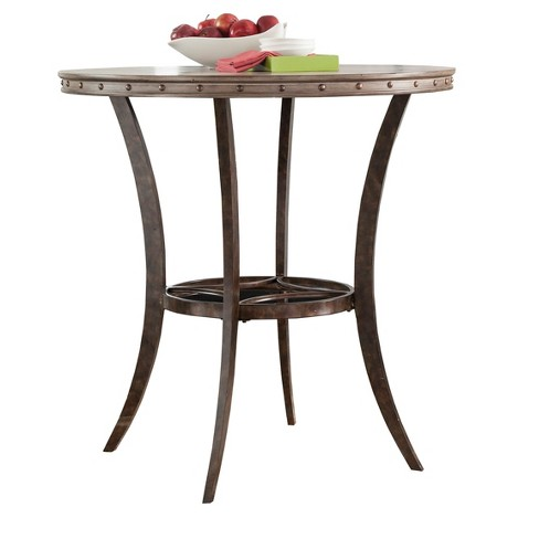 Emmons Round Wood Metal Bar Height Bistro Table Washed Gray Hilale Furniture