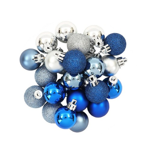 mini ball plastic christmas ornament set dark bluebluesilver 25ct wondershop target