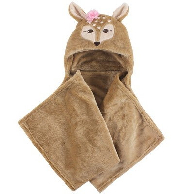 Hudson Baby Infant Girl Hooded Animal Face Plush Blanket, Fawn, One Size
