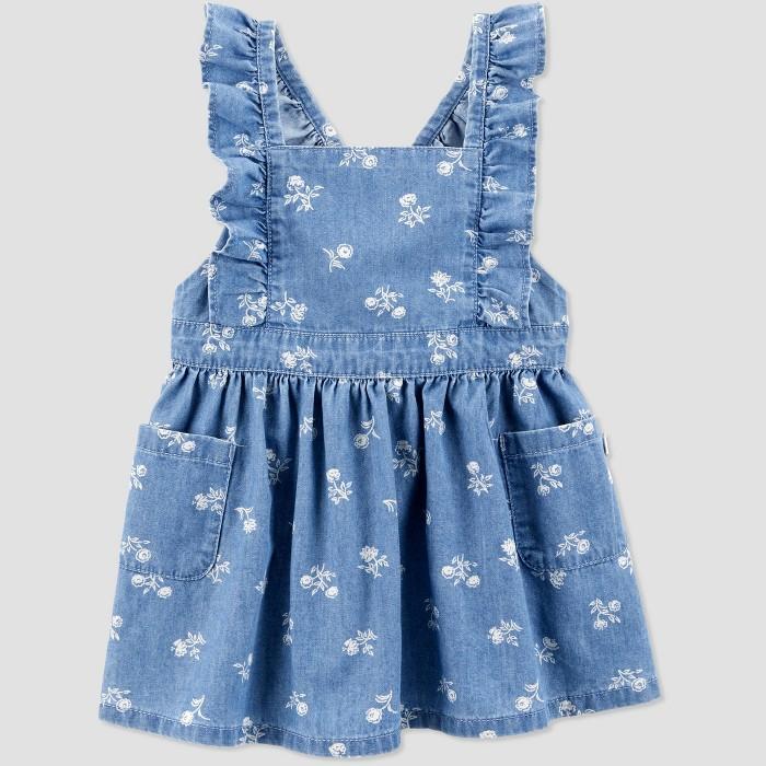 OshKosh B'gosh Toddler Girls' Floral Pinafore - Blue 12M - image 1 of 2
