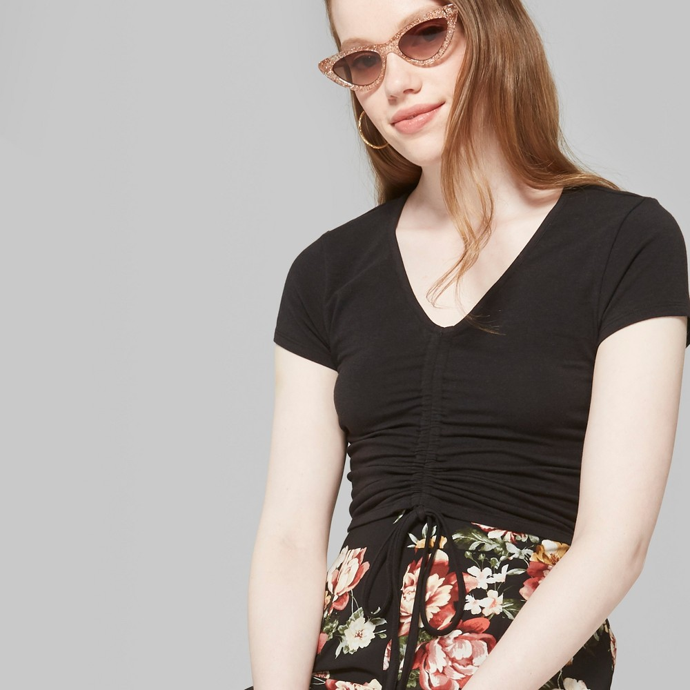 Women's Short Sleeve Ruched Front Top - Wild Fable Black XL