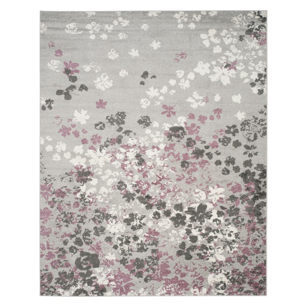 Floral Area Rug Light Gray/Purple