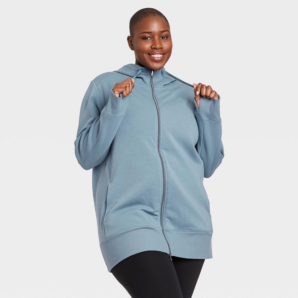 Women 39 S Cozy Fleece Plus Size Tunic Full Zip Sweatshirt All In Motion 8482 Blue 1x