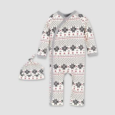 Burt's Bees Baby® Organic Cotton Hand Drawn Fair Isle Kimono Coverall & Hat Set - Ivory 18M