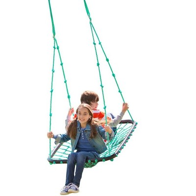 HearthSong Deluxe Platform Tree Swing for Kids with Nylon Rope and Padded Steel Frame