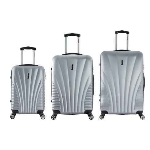 "InUSA Chicago 3pc Hardside Spinner Luggage Set 21""& 25""& 29"" - Silver - image 1 of 5"