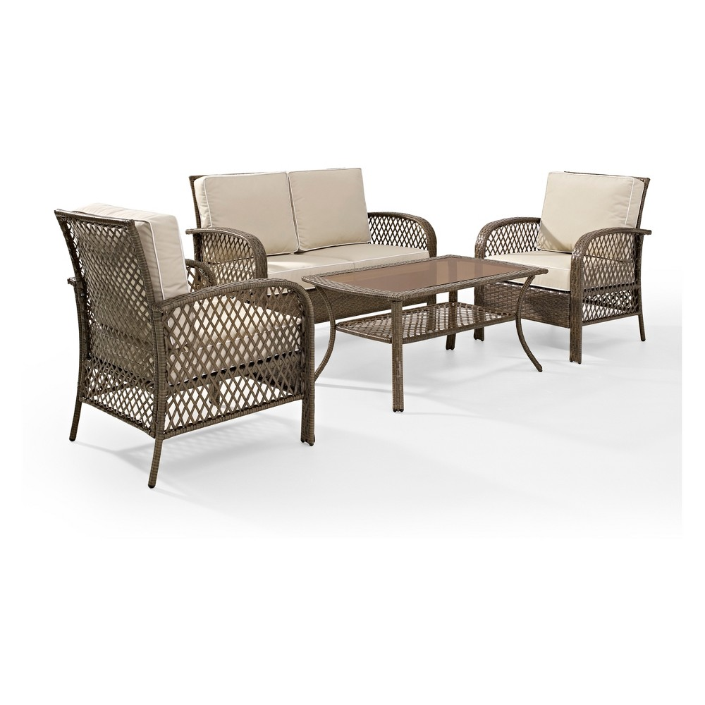 4pc Tribeca Outdoor Wicker Seating Set Sand - Crosley