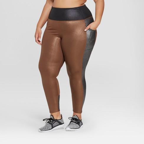 Women's Plus Size 7/8 High-Waisted Shine Leggings with Side Pockets - JoyLab™ - image 1 of 2