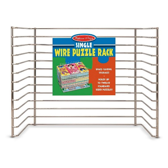 Melissa & Doug Puzzle Storage Rack - Wire Rack Holds 12 Puzzles image number null