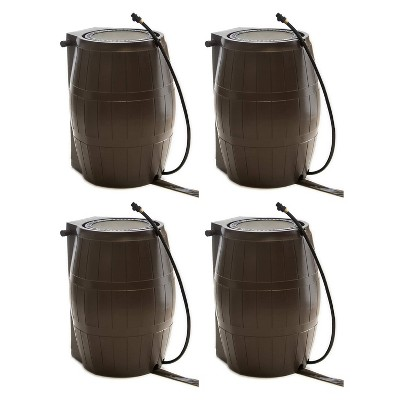 FCMP Outdoor RC4000-BRN 45-Gallon BPA Free Home Rain Water Catcher Barrel, Brown (4 Pack)