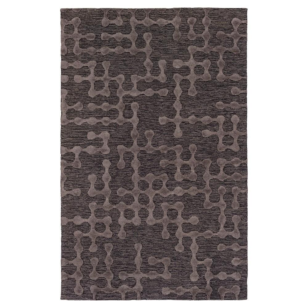 Charcoal (Grey) Abstract Hooked Area Rug - (5'X7'6) - Surya