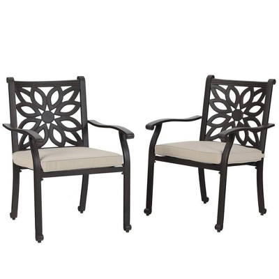 2pc Outdoor Cast Aluminum Extra Wide Dining Chairs with Armrests - Captiva Designs