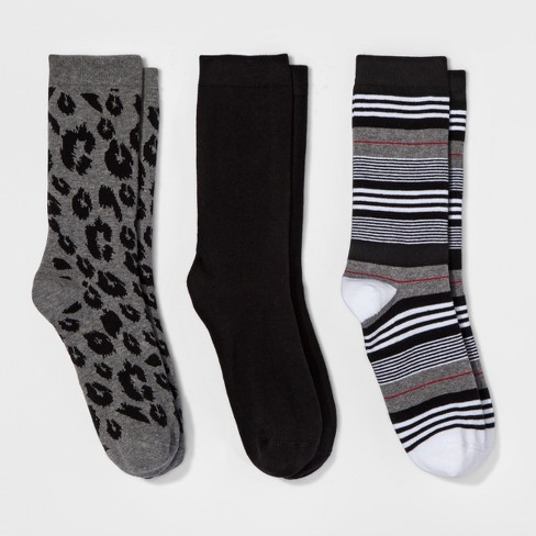 Women's Animal Print 3pk Crew Socks - A New Day Gray/Black One Size - image 1 of 1