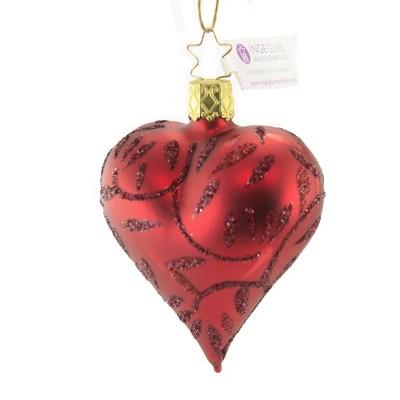 "Inge Glas 3.0"" Delights Dark Red Heart Ornament Valentine's Day  -  Tree Ornaments"