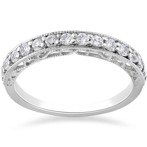 Pompeii3 3/8ct Diamond Vintage Stackable Wedding Ring 14K White Gold - image 1 of 2