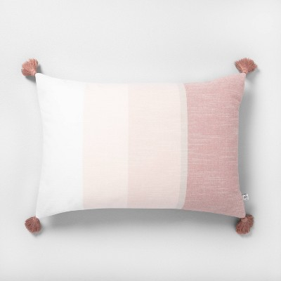 "14"" x 20"" Color Blocked Stripe Tassel Throw Pillow Rose Gold - Hearth & Hand™ with Magnolia"