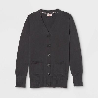 Girls' Uniform Cardigan - Cat & Jack™ Charcoal Gray