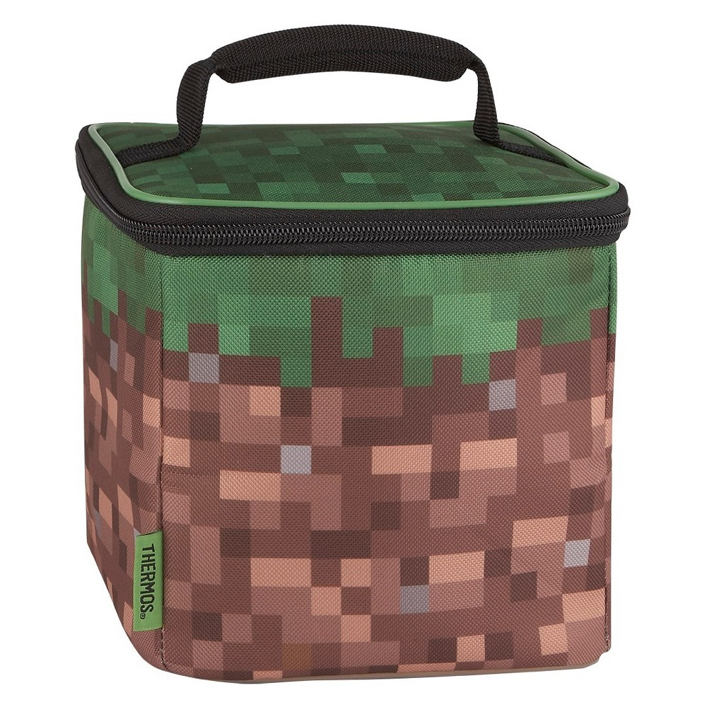 Thermos Minecraft Cube Lunch Kit - Green This soft lunch bag from GENIUNE THERMOS BRAND is a great choice for kids to take their lunch to school. Decorated with brightly colored and detailed graphics, this lunch bag features a comfortable, padded carrying handle and premium foam insulation to keep lunches cooler and fresher. Color: Green. Pattern: Solid.