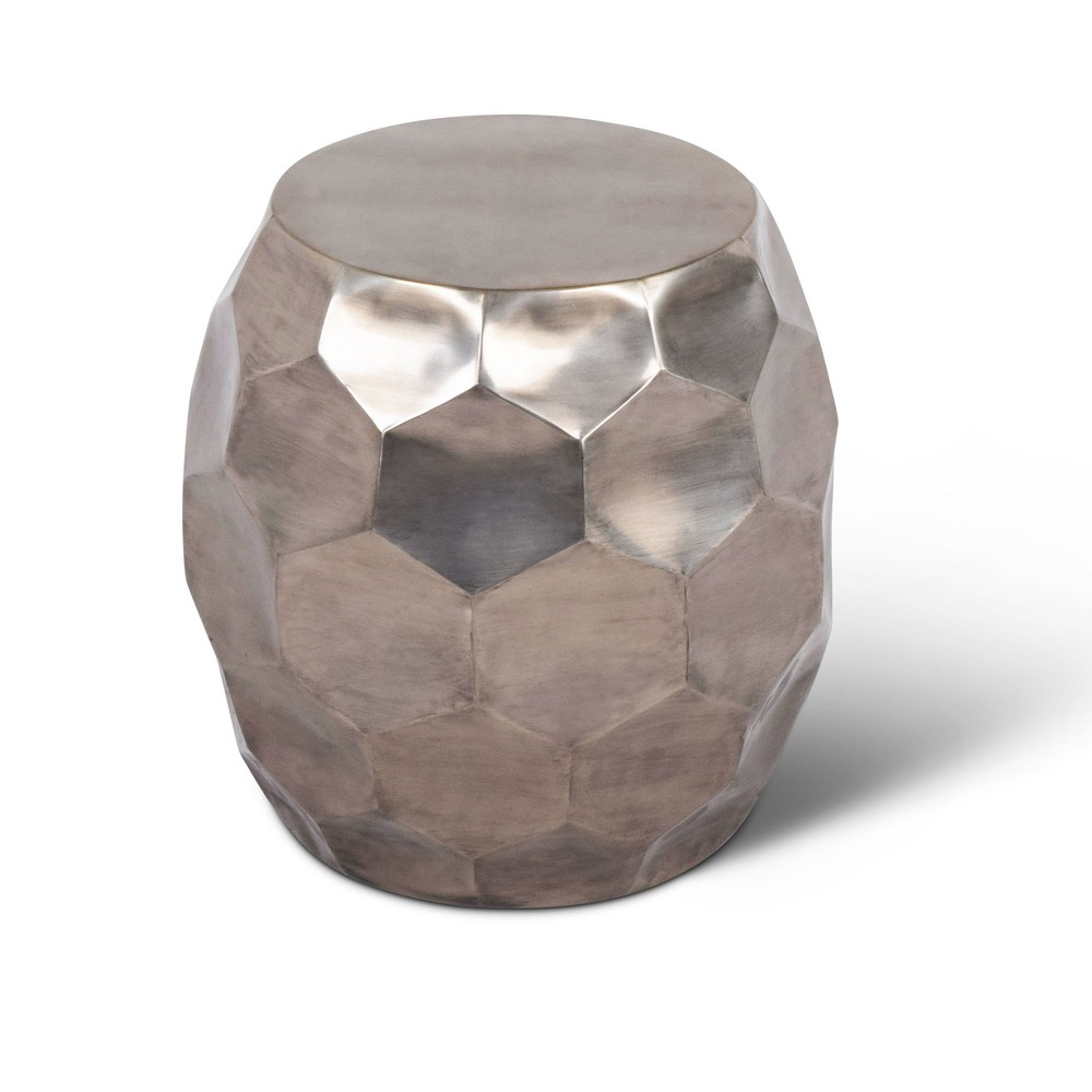 Stomp Round End Table Nickel Finish - Steve Silver