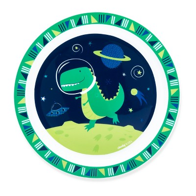 Cheeky Plastic Kids Plate 8.3  Space Dinosaur - Green