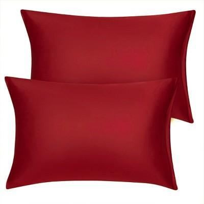 2 Pcs Standard Silk Satin with Zipper Pillowcase Red - PiccoCasa