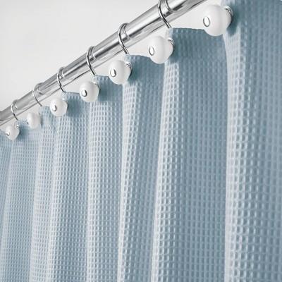 mDesign Waffle Weave Fabric Shower Curtain