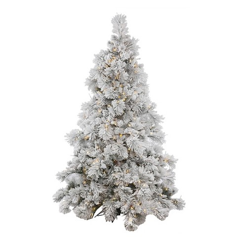 7.5ft Flocked Alberta Artificial Christmas Tree Full with Artificial Pine Cones and Clear Lights - image 1 of 2