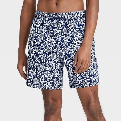 "Speedo Men's 8"" Floral Print Swim Trunks - Navy"