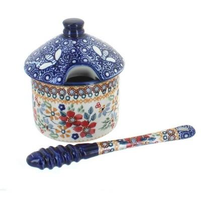 Blue Rose Polish Pottery Red Daisy Honey Pot & Dipper