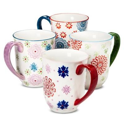 12oz Floral Ceramic Mug - Set of 4