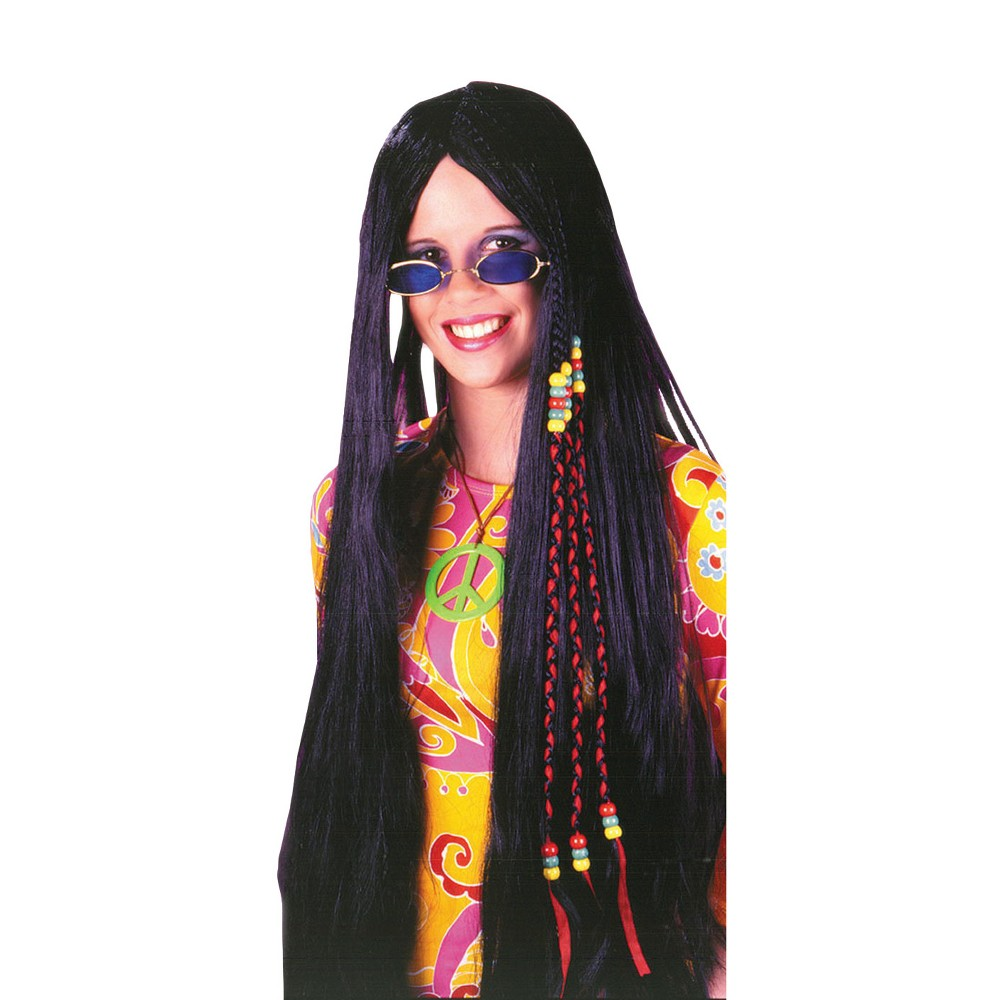 Braided Hippie Costume Wig Black, Adult Unisex
